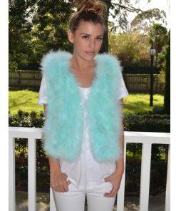 aqua feather vest