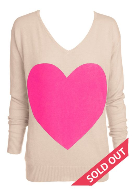 beige with pink heart sweater