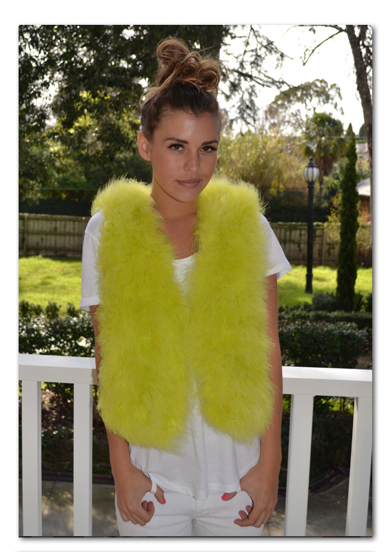 Chartruse feather vest