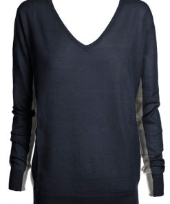 Navy with gray contrast cashmere sweater