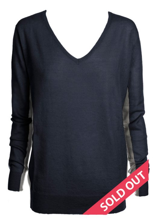 navy with charcoal contrast sweater