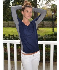 navy with grey contrast cashmere sweater