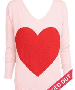 pink with red heart sweater