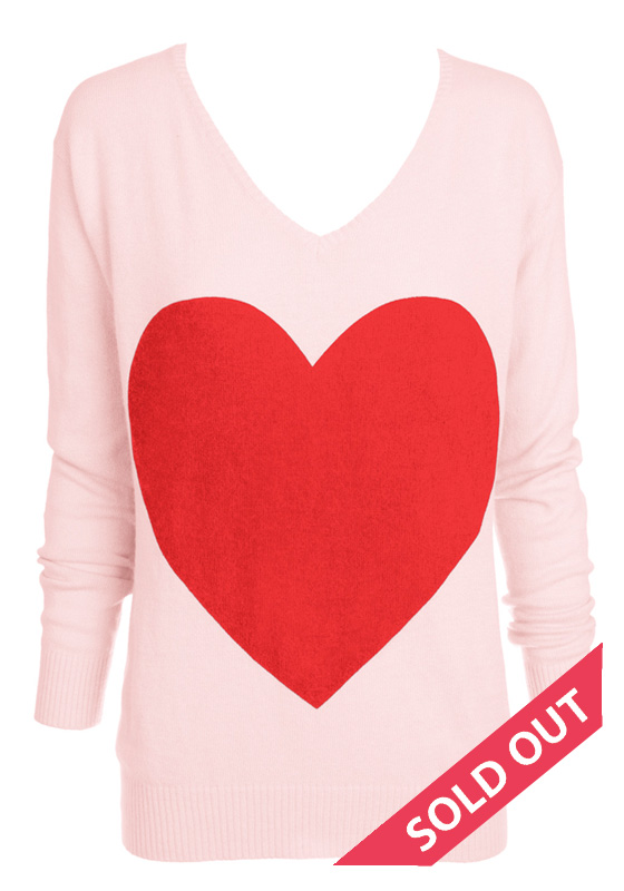 95f5a76ac100 The love heart Angora Sweater – Baby Pink With Red heart – Sophie Moran