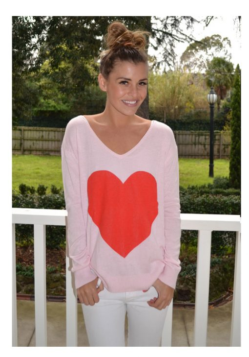pink with red heart angora sweater