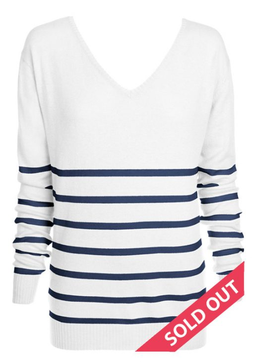The Sailor Stripe Angora Sweater – Cream With Navy Knitted Stripes