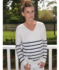 cream with navy stripe angora sweater