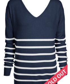 navy with cream stripe sweater
