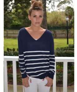 navy with cream stripe angora sweater
