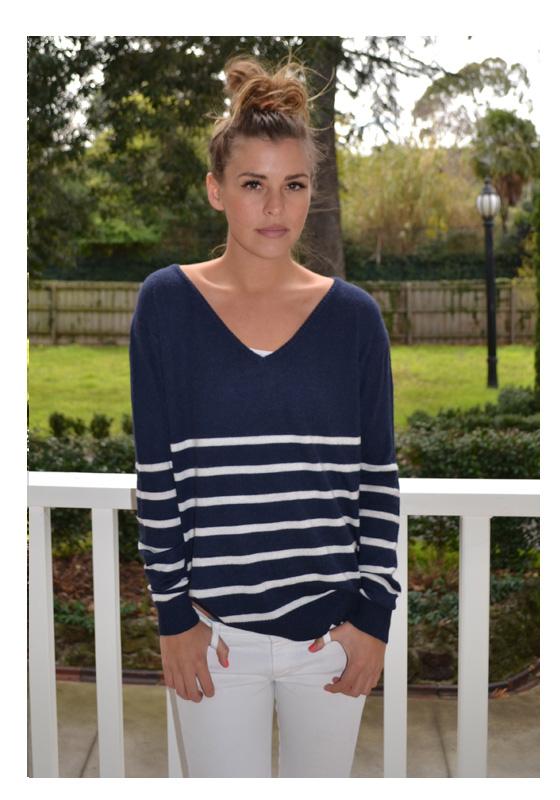 navy with cream stripe angora sweater