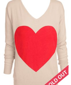 beige with red heart sweater