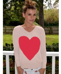beige with red heart angora sweater