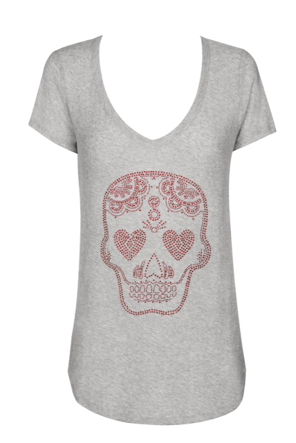 Diamante skull T'Shirt - V neck