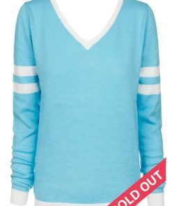 blue cotton v neck sweater
