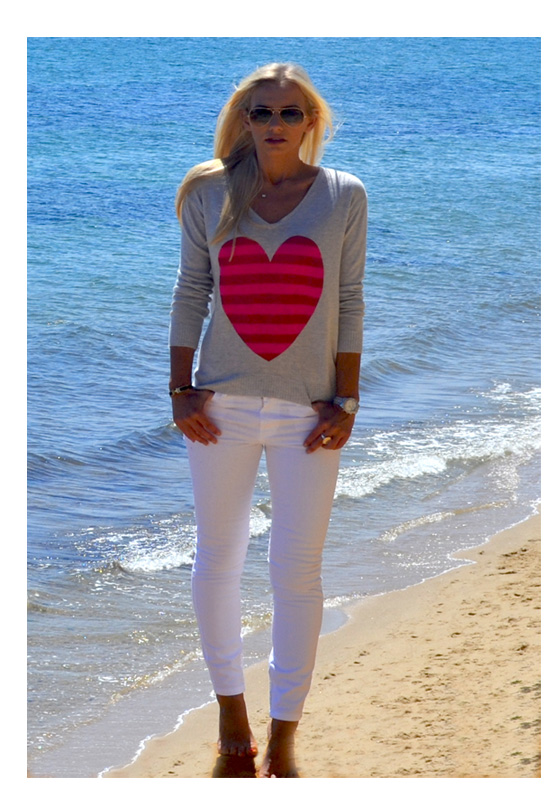 Light gray with red and pink stripe heart sweater