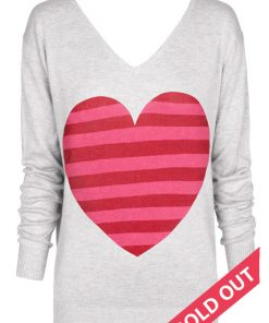 Light gray with striped heart sweater