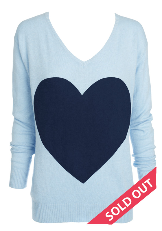 powder blue with navy heart sweater