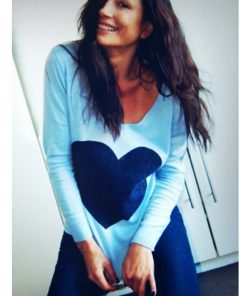 powder blue with navy heart angora sweater