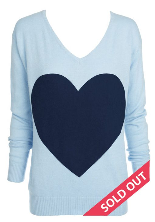 powder blue with navey heart sweater