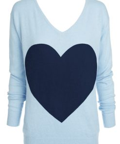 Powder blue with navy heart