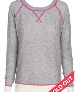 Wool Cashmere Crew Neck Sweater – Grey with Pink Stitching