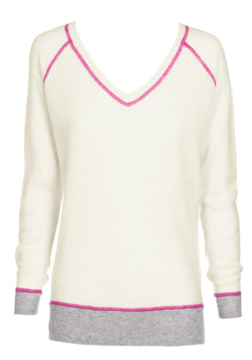 Cashmere wool v neck cream with pink stitching