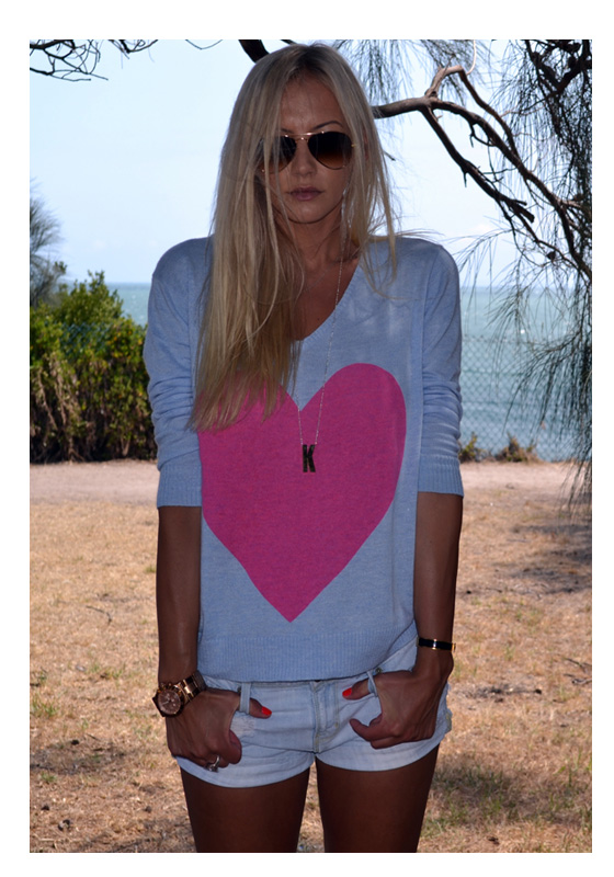 Pale blue marle with pink heart angora sweater