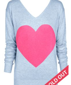 The Love Heart Angora Sweater - Pale Blue Marle with Pink Heart