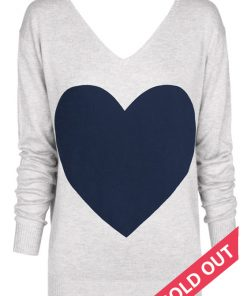 grey with navy heart sweater