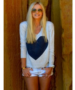 light grey with navy heart sweater