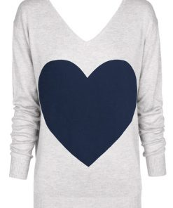 light gray with navy heat sweater