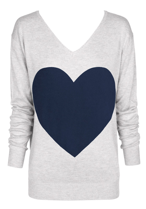 light gray with navy heat sweater