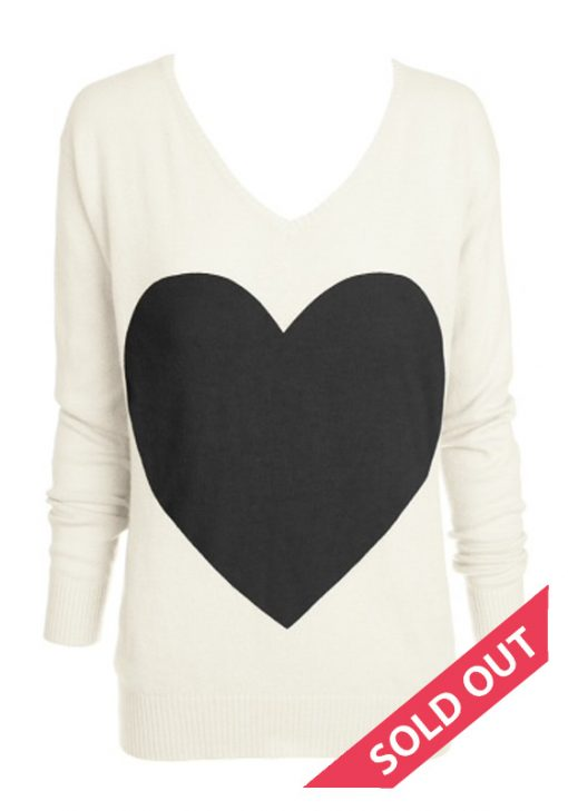 Cream with black heart sweater