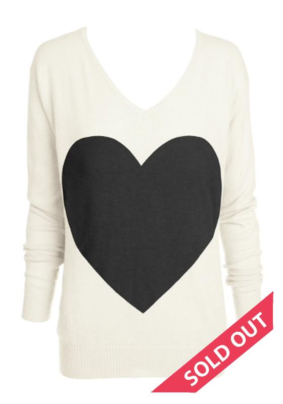 Cream with black heart sweater