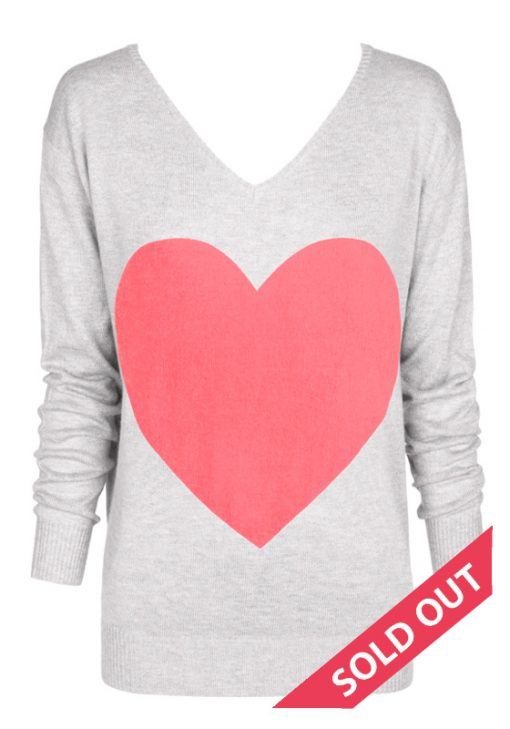 light gray with neon coral heart sweater