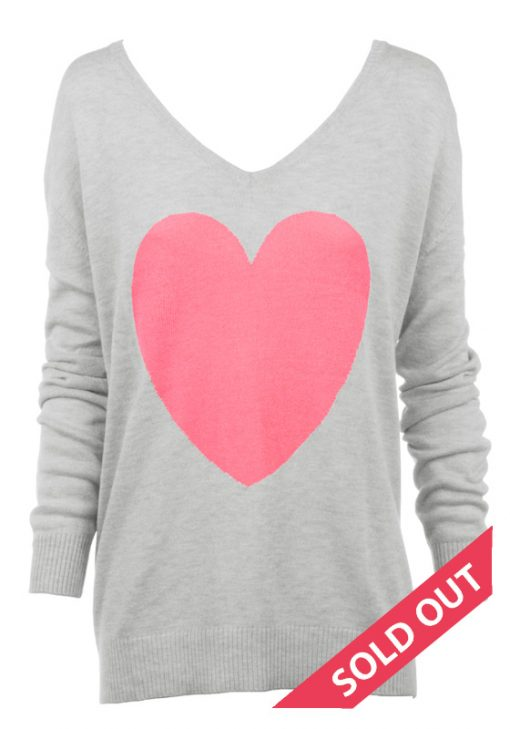 Grey with bubblegum pink knitted heart