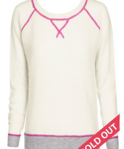 Cream with pink stitching crew neck sweater