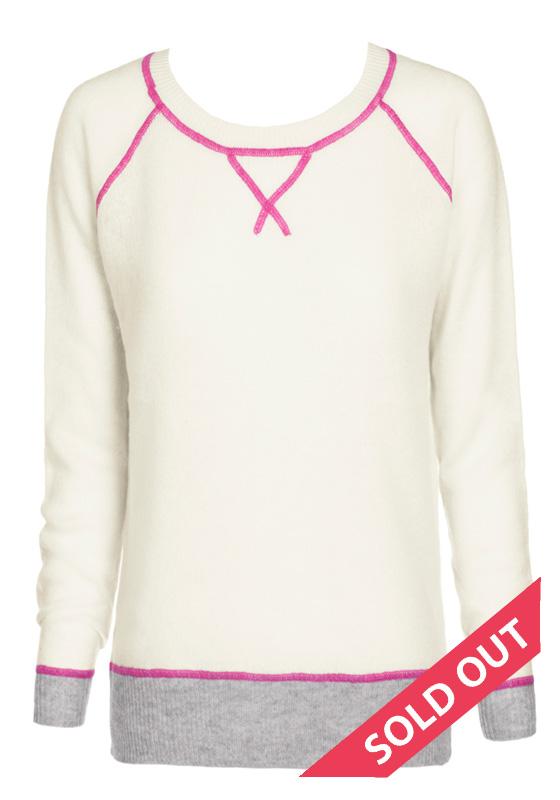 Cream with pink stitching crew neck sweater