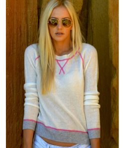 Wool Cashmere Crew Neck Sweater - Cream with Pink Stitching