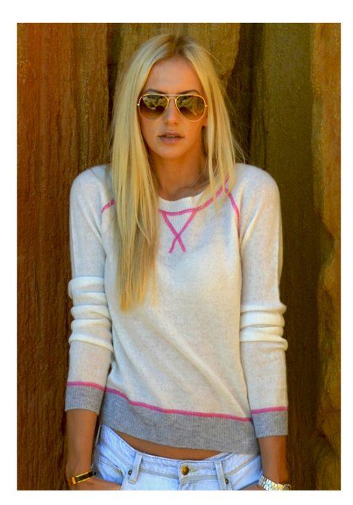 Wool Cashmere Crew Neck Sweater - Cream with Pink Stitching