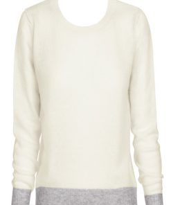 Wool Cashmere Crew Neck Sweater - Cream with Grey Contrast