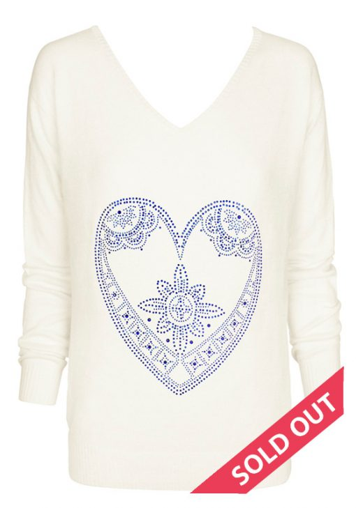 cream with indego heart sweater