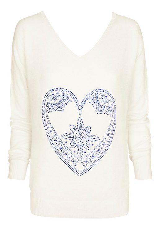 cream with indigo heart sweater