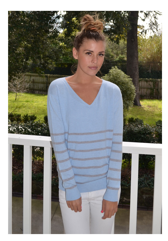 The Sailor Stripe Angora Sweater – Powder Blue With Grey Marle ...