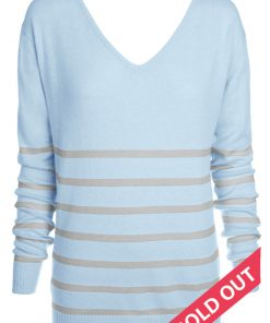 The Sailor Stripe Angora Sweater – Powder Blue With Grey Marle Knitted Stripes