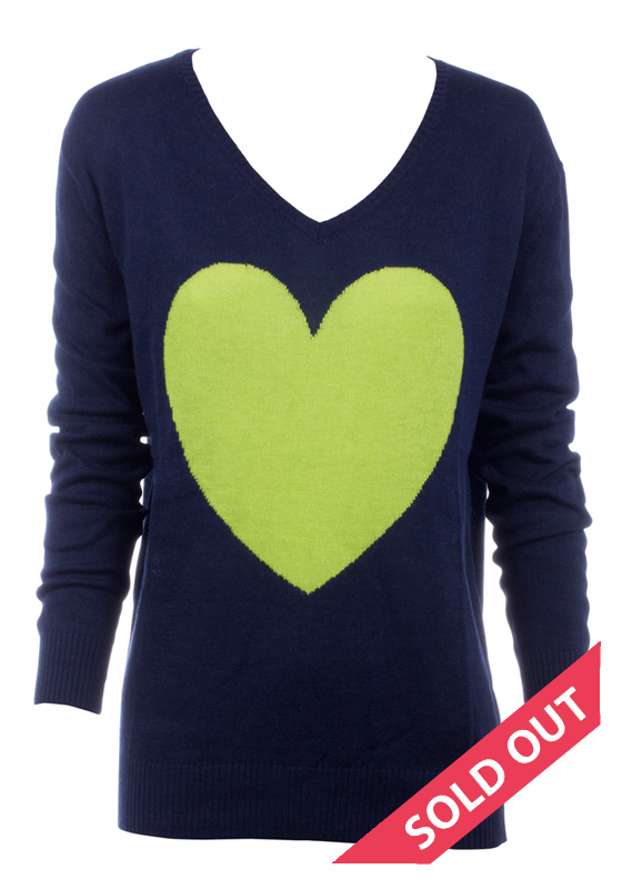 Intarsia Knitted Heart - Navy with Chartreuse Heart