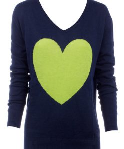 Navy with Chartreuse Heart sweater