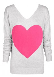 light grey marle & bright pink heart sweater