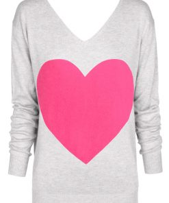 grey with pink heart sweater