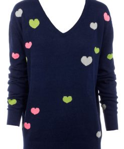 intarsia Knitted Mini Hearts - Navy with Mini Hearts